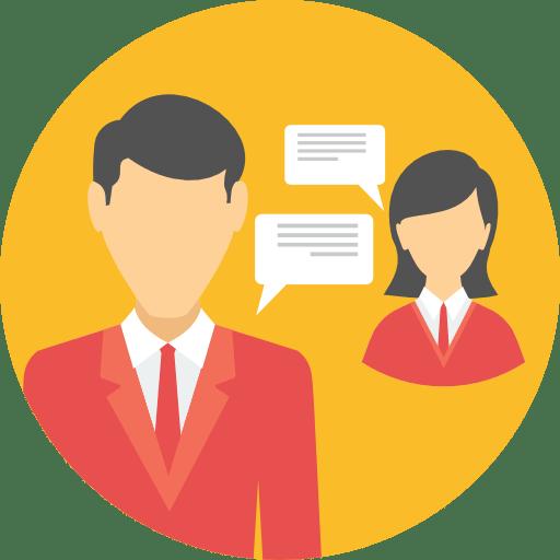 Conversation entre deux membres d'un forum sous forme de bulles