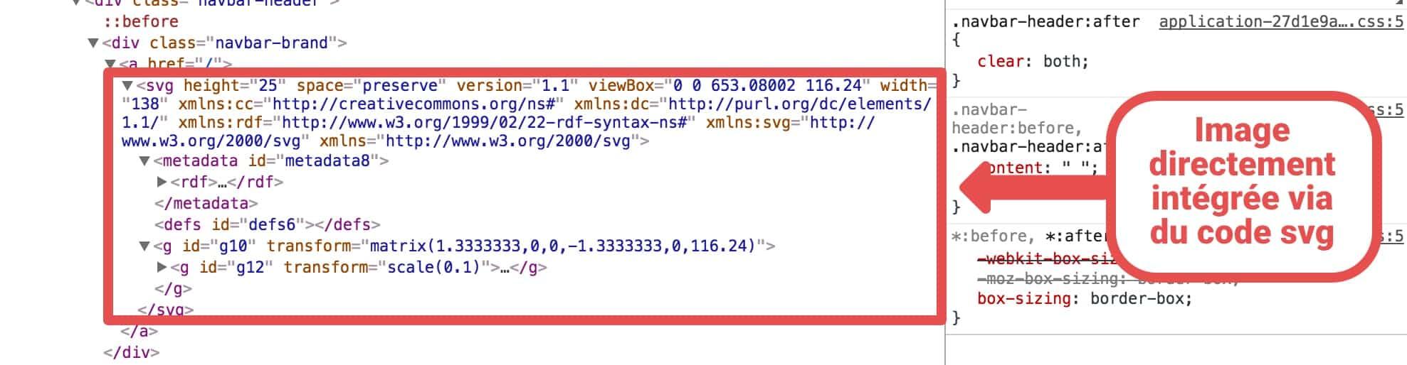 Analyse du code source d'un site web. Nous pouvons voir du code <svg></svg>
