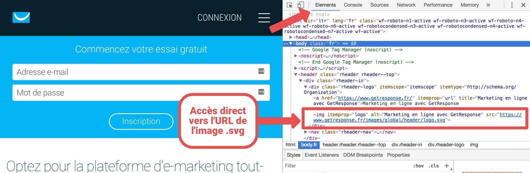 Visualisation du code source du site Get Response. Nous pouvons voir le tag <a></a> avec un lien vers le logo .svg