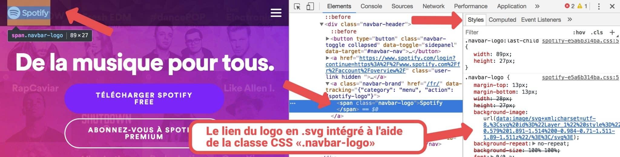 Visualisation du code source du site Spotify avec une class CSS contenant l'url vers le logo .svg