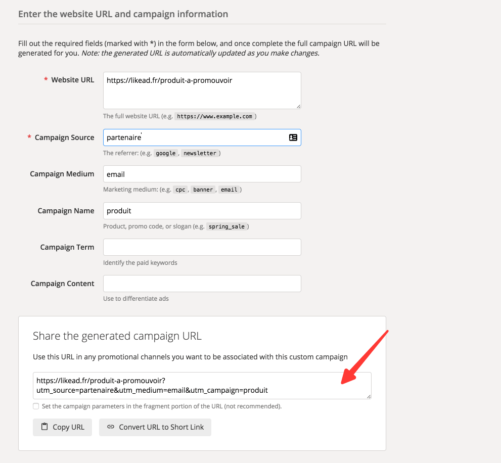 Présentation de Google Analytics URL Builder et ses champs UTMs