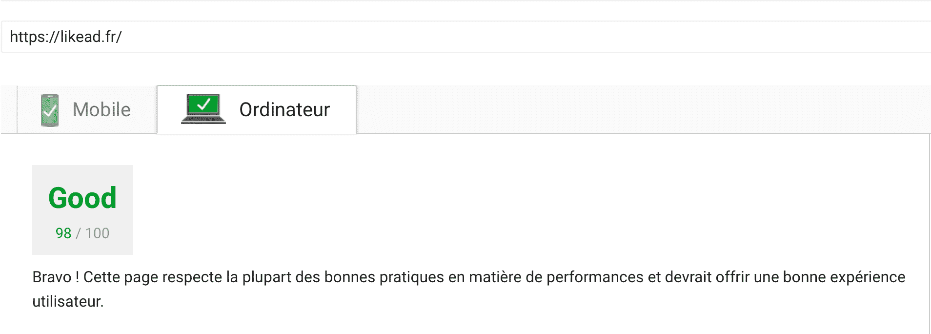 Score du temps de chargement de LIKEAD sur Google Pagespeed Insight : 98/100